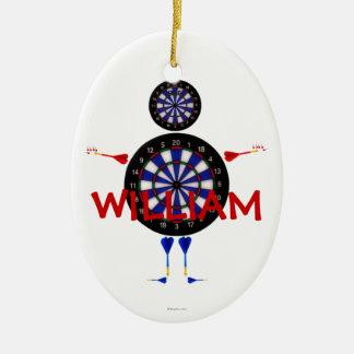 El personalizado lanza el dibujo animado adorno navideño ovalado de cerámica