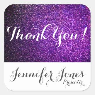 el personalizado le agradece brillo púrpura de los pegatina cuadrada
