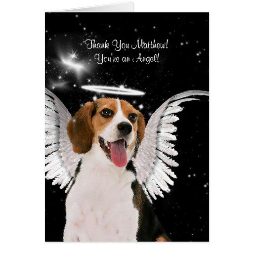 El personalizado le agradece perro del ángel del tarjeta de felicitación
