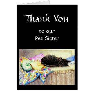 El personalizado le agradece, saludando, mascota,  tarjeta de felicitación
