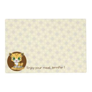 El personalizado lindo del dibujo animado del gato tapete individual