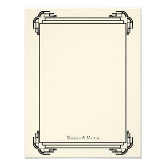 """El personalizado negro del boda del marco de Deco Invitación 4.25"""" X 5.5"""""""