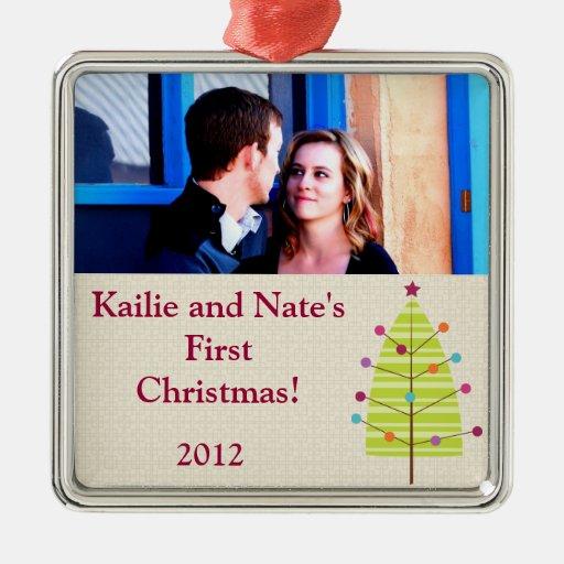 El personalizado personalizado adorna el árbol adorno navideño cuadrado de metal