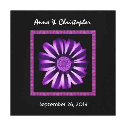 El personalizado púrpura del boda de la margarita impresion de lienzo