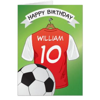 El personalizado rojo de la camisa del fútbol del tarjeta de felicitación