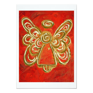 """El personalizado rojo del arte del ángel de guarda invitación 5"""" x 7"""""""
