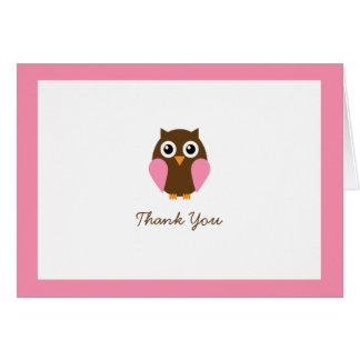El personalizado rosado del búho doblado le agrade tarjeta pequeña