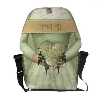 El personalizado (verde) de la novia bolsa messenger