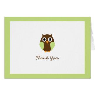 El personalizado verde del búho doblado le tarjeta pequeña