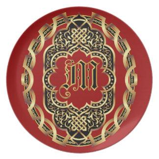 El personalizar del monograma M y corrige para el Plato De Cena