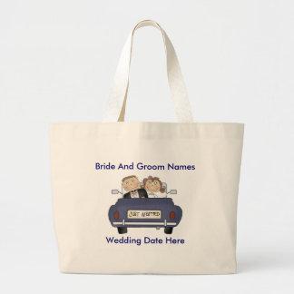 El personalizar usted mismo acaba de casar la bolsa tela grande