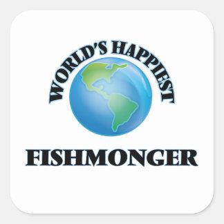 El pescadero más feliz del mundo pegatina cuadrada