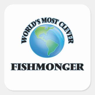El pescadero más listo del mundo pegatina cuadrada
