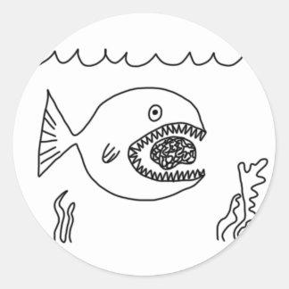 El pescado come el cerebro pegatina redonda