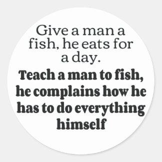 El pescado del hombre se queja FB Pegatina Redonda