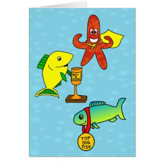 El pescado divertido del dibujo animado de los tarjeta de felicitación