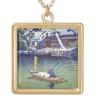 El pescador japonés fresco del barco del lago de collar dorado