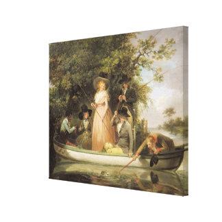 El pescar con caña del fiesta (aceite en lona) impresión en tela