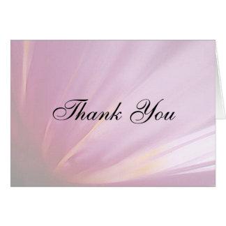 El pétalo color de rosa rosado le agradece cardar tarjeta pequeña