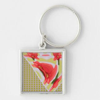 El pétalo exótico rojo de la flor del tulipán basó llavero cuadrado plateado