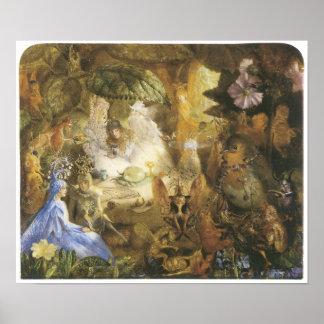 El petirrojo prisionero, pintura de hadas del vint poster