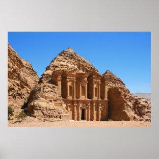 El Petra Jordania del monasterio Poster