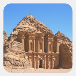 El Petra Jordania del monasterio Pegatina Cuadrada
