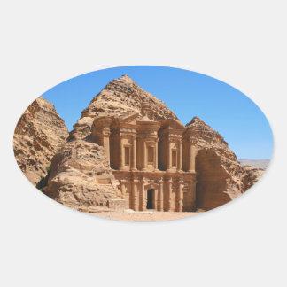 El Petra Jordania del monasterio Pegatina Ovalada