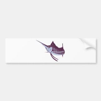 el pez volador que salta la vista lateral aislada  etiqueta de parachoque
