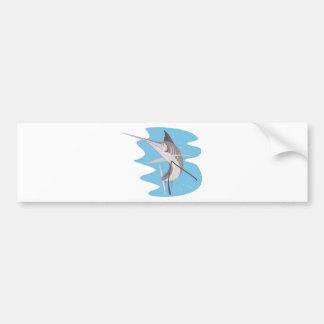 el pez volador que salta para arriba pegatina de parachoque