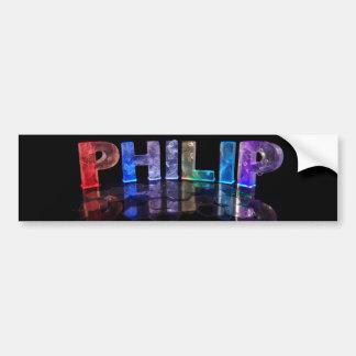 El Philip conocido en 3D se enciende (la fotografí Pegatina De Parachoque