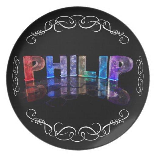 El Philip conocido - nombre en las luces (fotograf Platos De Comidas