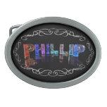 El Phillip conocido - nombre en las luces (fotogra Hebillas De Cinturón Ovales