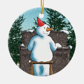 El pianista adorno navideño redondo de cerámica