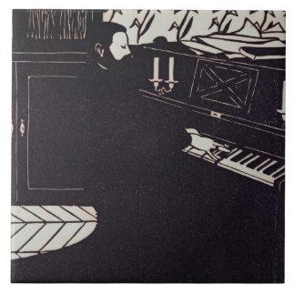 El piano, 1914 (grabar en madera) tejas  cerámicas