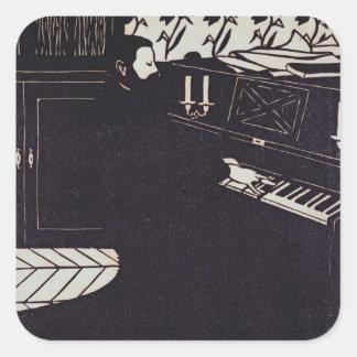 El piano, 1914 (grabar en madera) pegatina cuadrada