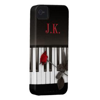 El piano cierra el caso del monograma iPhone4 de iPhone 4 Protectores