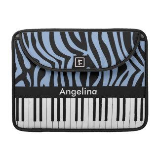 El piano cierra el estampado de zebra del azul y fundas para macbook pro