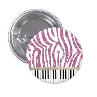 El piano cierra el estampado de zebra rosado del pin redondo de 1 pulgada