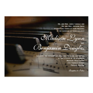 """El piano cierra invitaciones del boda de la invitación 4.5"""" x 6.25"""""""