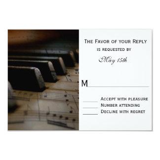 """El piano cierra la partitura que casa las tarjetas invitación 3.5"""" x 5"""""""