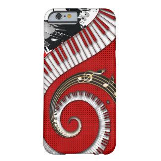 El piano cierra remolinos florales del Grunge de Funda De iPhone 6 Barely There