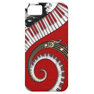El piano cierra remolinos florales del Grunge de iPhone 5 Case-Mate Carcasa