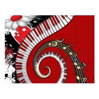 El piano cierra remolinos florales del Grunge de l Postales