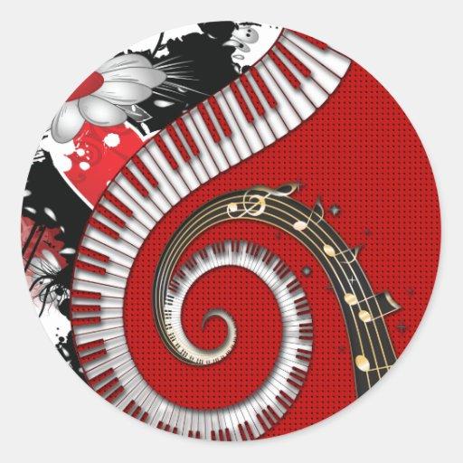 El piano cierra remolinos florales del Grunge de Pegatina Redonda