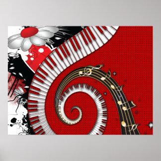 El piano cierra remolinos florales del Grunge de Póster
