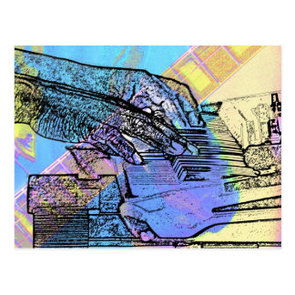 el piano da la versión del pastel de las manos del postales