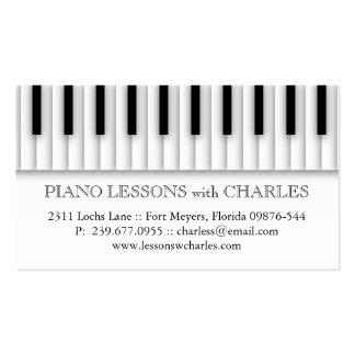 El piano de las lecciones de música cierra el tarjetas de visita