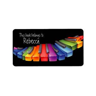 El piano del arco iris cierra etiquetas del Bookpl Etiqueta De Dirección