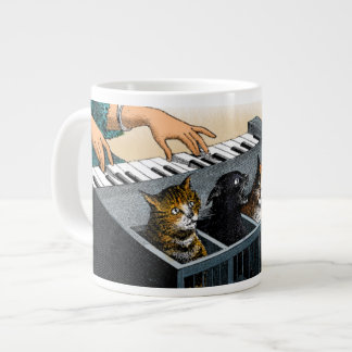 El piano del gato taza grande